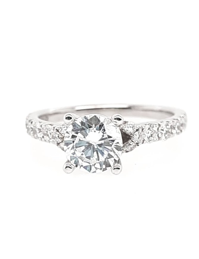 Diamond (0.51 ctw, cz center) setting, 14k white gold