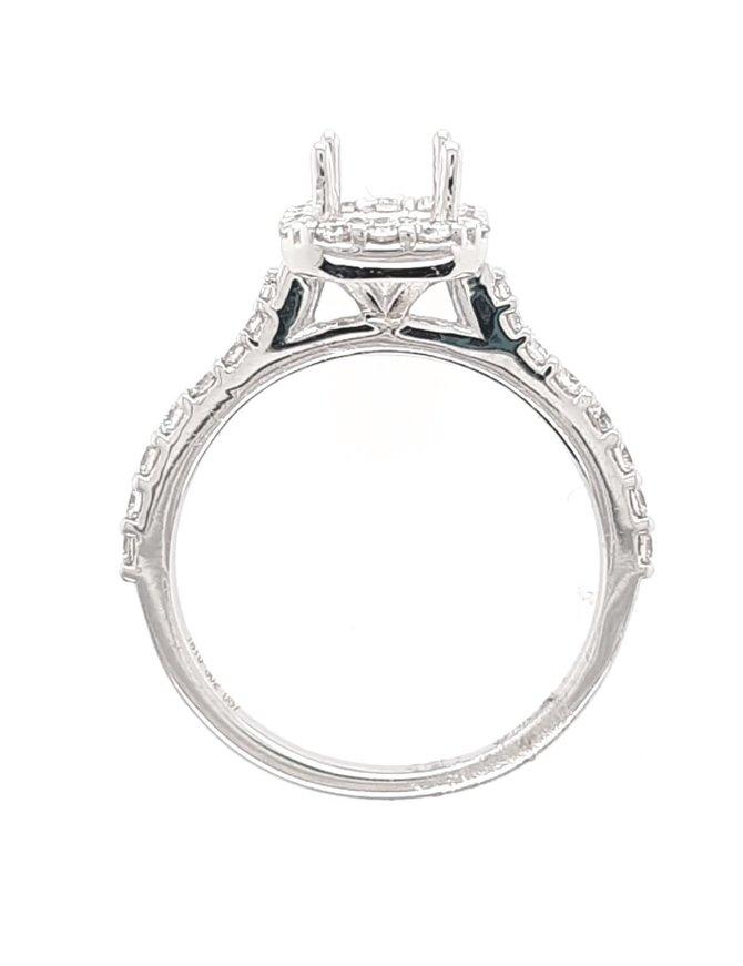 Diamond (.40 ctw) halo setting, 14 kt white gold