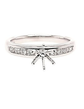 Diamond (0.20 ctw) channel set setting, 14k white gold, center stone not included