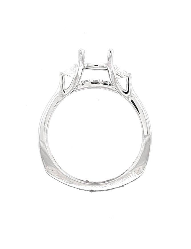 Diamond 3 Stone (.27 ctw) setting, 14 kt white gold