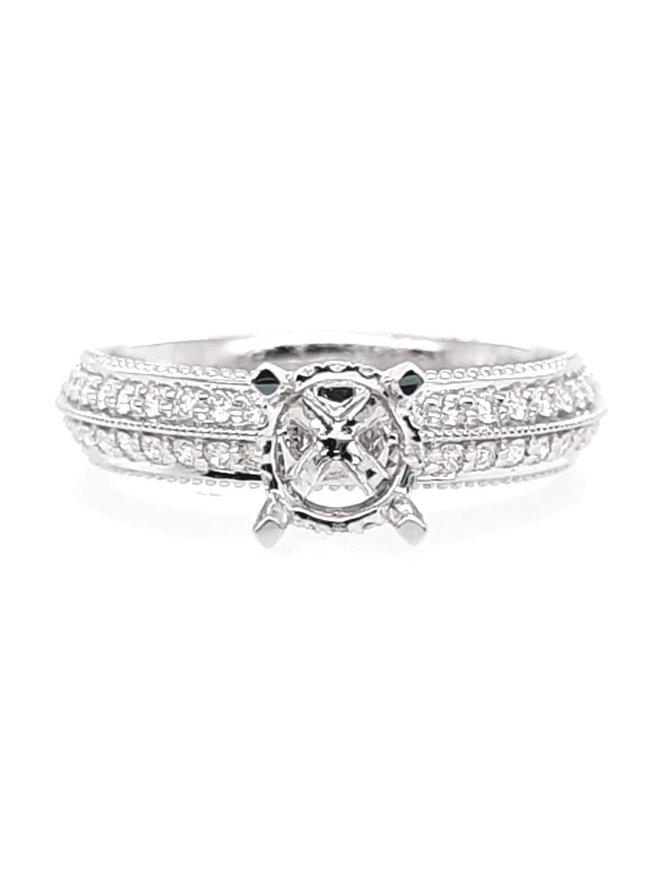 Diamond (0.42 ctw) 2-row beaded edge setting,  14 kt white gold