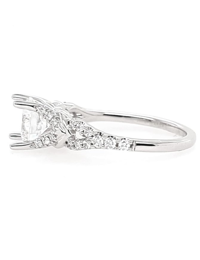 Diamond (0.20 ctw) split shank setting, 14k white gold, shown with a cz, center stone not included
