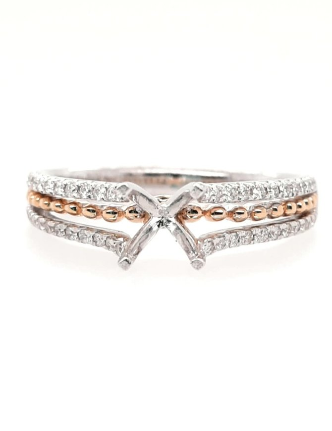 Diamond (0.21 ctw) 2-tone  setting, 14 kt white & rose gold