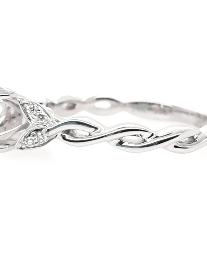 Diamond (0.04ctw) petite twisted bridal setting, 14k white gold