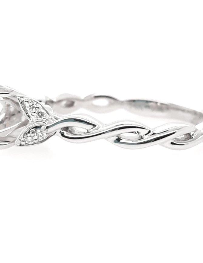 Diamond(0.04ctw) petite twisted bridal setting, 14k white gold