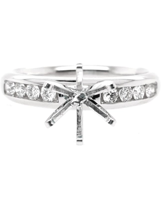 Diamond (0.75 ctw) channel set setting, 14k white gold shown with a cz center, center stone sold separately