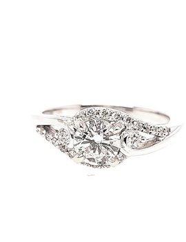 Diamond (0.60 ct center F-G/SI1, 0.76 ctw) swirl engagement ring, 14k white gold