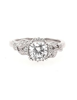Diamond (0.10 ctw) sculpted setting, 14k white gold, shown with a cz, center stone not included