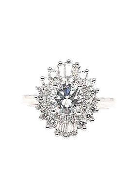 Round & baguette diamond (0.60 ctw) star setting, 14k white gold, cz center