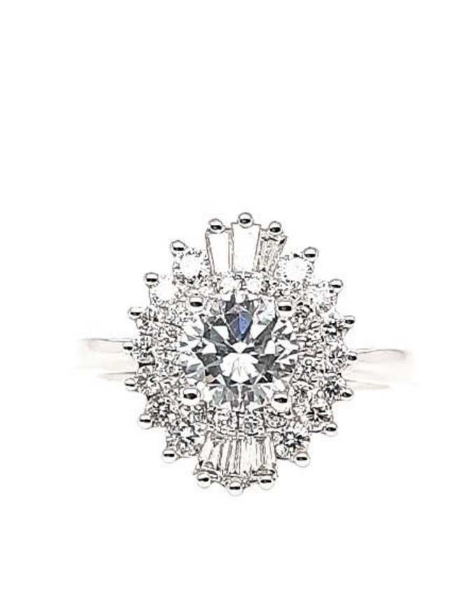 Round & baguette diamond (0.60 ctw) star setting, 14k white gold, cz center, center stone sold separately