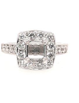 Ring White Hand Engraved (.70 ct) 14 k white gold