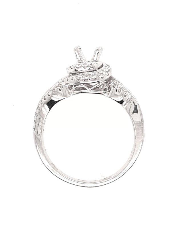 Diamond (0.50 ctw) round & baguette swirl halo, 14k white gold