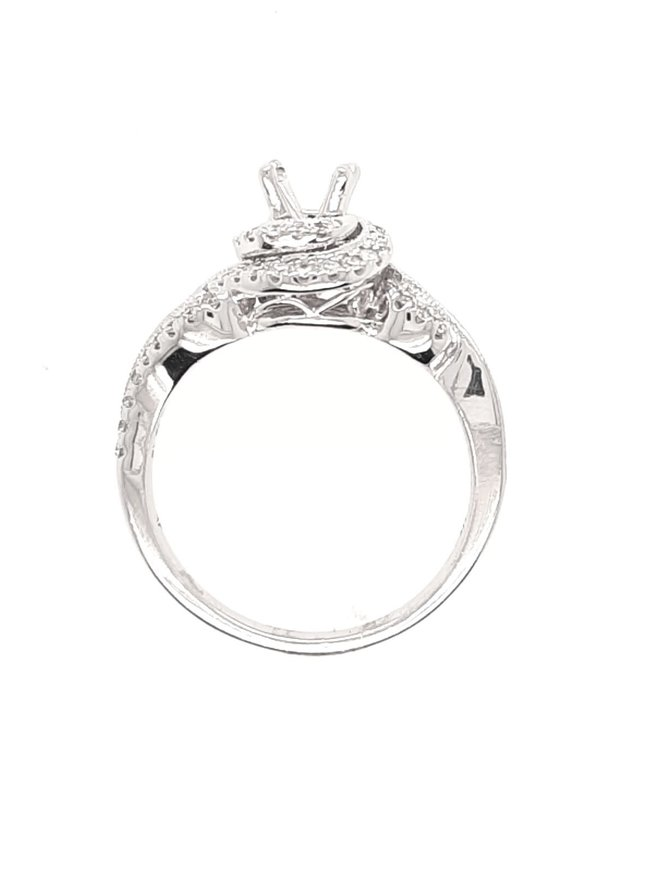 Swirl Halo Ring with Rounds and Baguetts (1/2 ctw) White Gold 4.3g