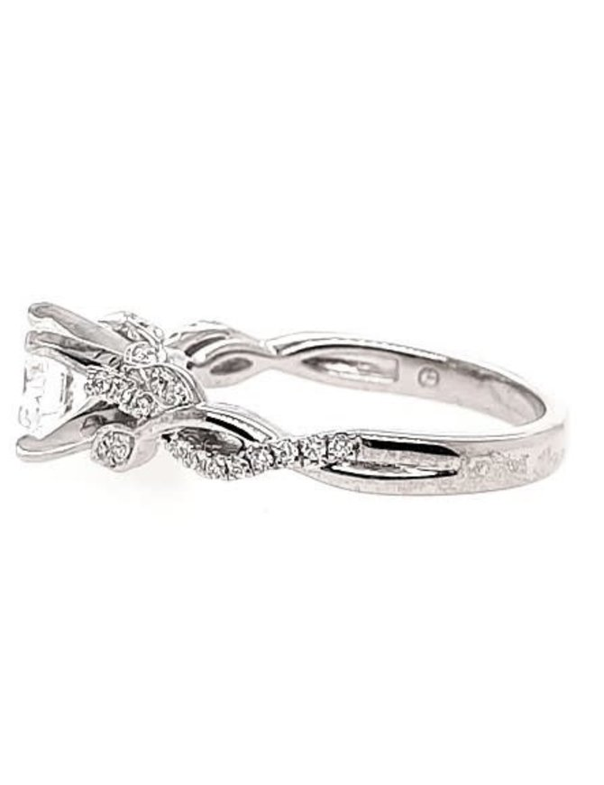 14K WHITE GOLD DIAMOND 0.19 CTW SCULTPTED LEAF SETTING, SHOWN WITH A CZ CENTER