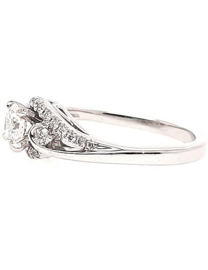 Diamond (0.52 ct center, 0.68 ctw, G-H/SI1) swirl engagement ring, 14k white gold