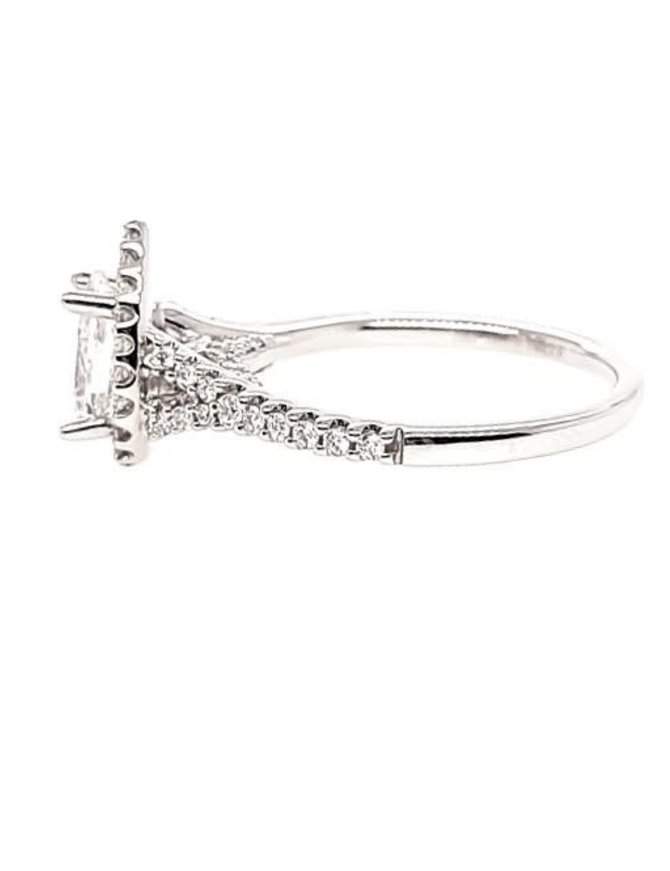 Diamond (3/8 ctw) pear shaped setting, 14k white gold, shown with a cz, center stone not included