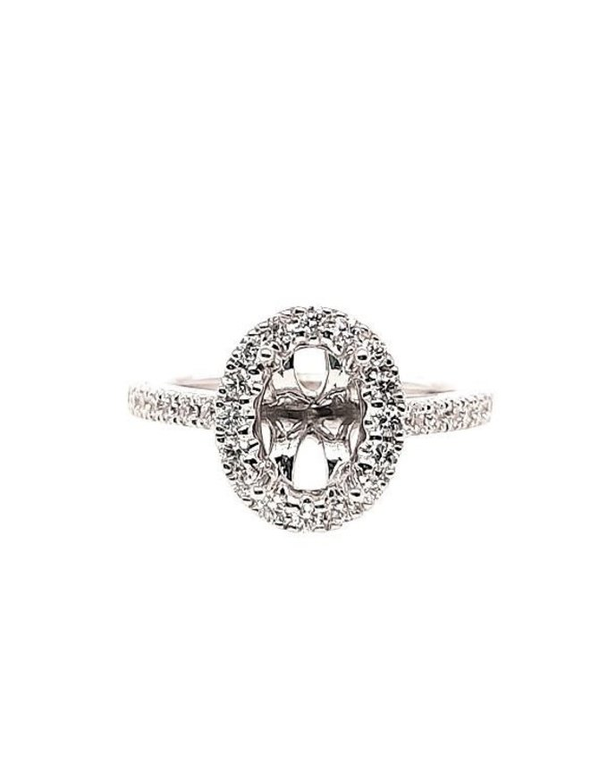 Oval diamond (0.48 ctw) halo setting, 14k white gold, center stone not included
