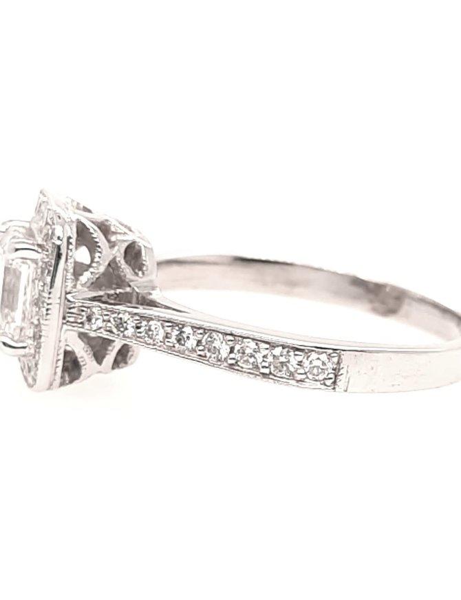 Ascher diamond (1.10 ct center G/VS2, 1.50 ctw) halo engagement ring, 18k white gold