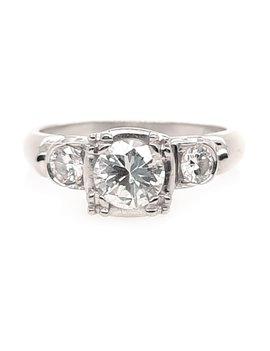 Estate 3-diamond (0.65 ct center F-G/VS. 0.90 ctw) engagement ring,, 14k white gold