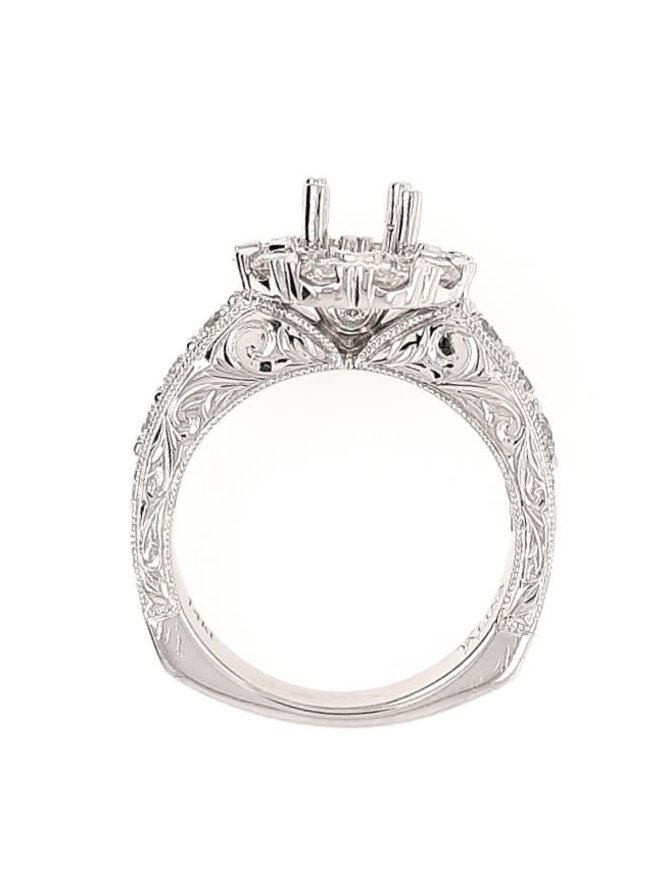 Diamond (1.20 ctw) beaded band halo setting, 14k white gold, center stone not inlcuded