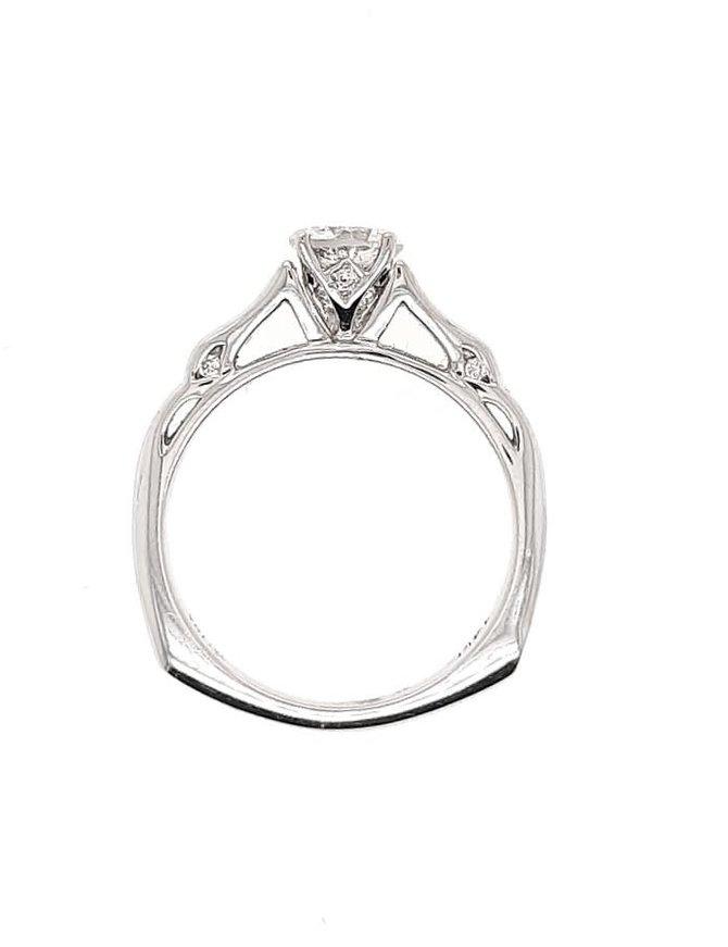 Diamond (0.70 ct center, 0.78 ctw) engagement ring, 14k white gold