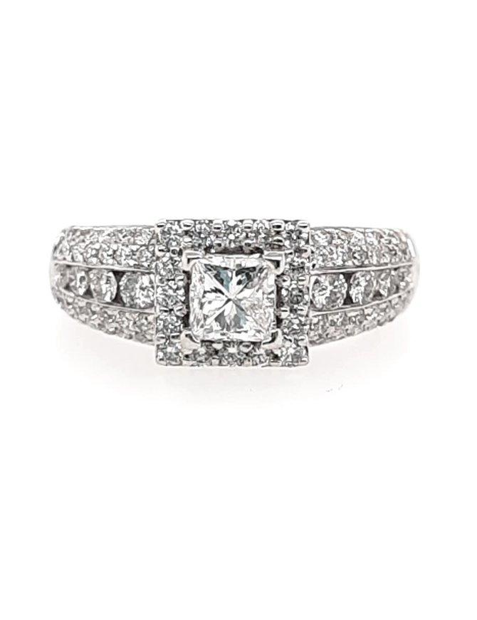 Diamond (1.00 ctw) halo engagment ring & wedding band set, 14k white gold