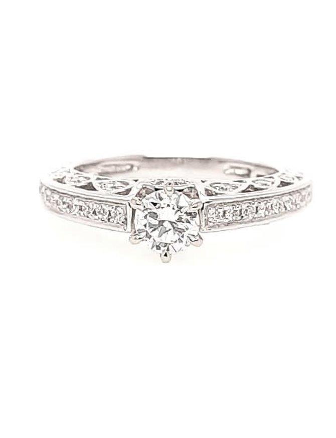 Diamond (0.46 ct center H-I/VS1, 0.77 ctw) scroll engagement ring, 14k white gold