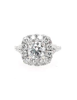 Diamond (2.15ctw) square halo round center ring, 14k white gold GIA 2228194161