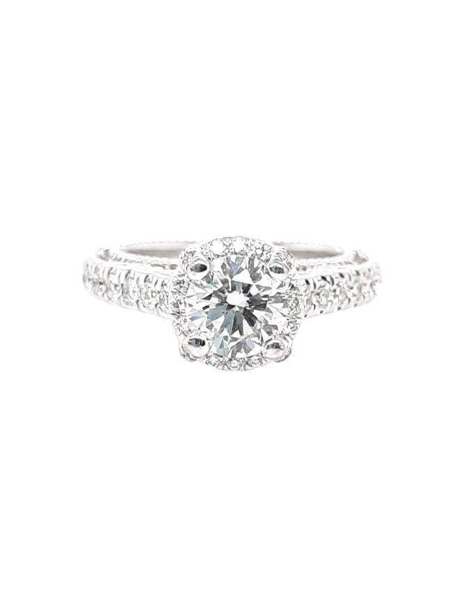 Diamond (0.75 ct center, 1.25 ctw) engagement ring, 18k white gold 6.1 grams