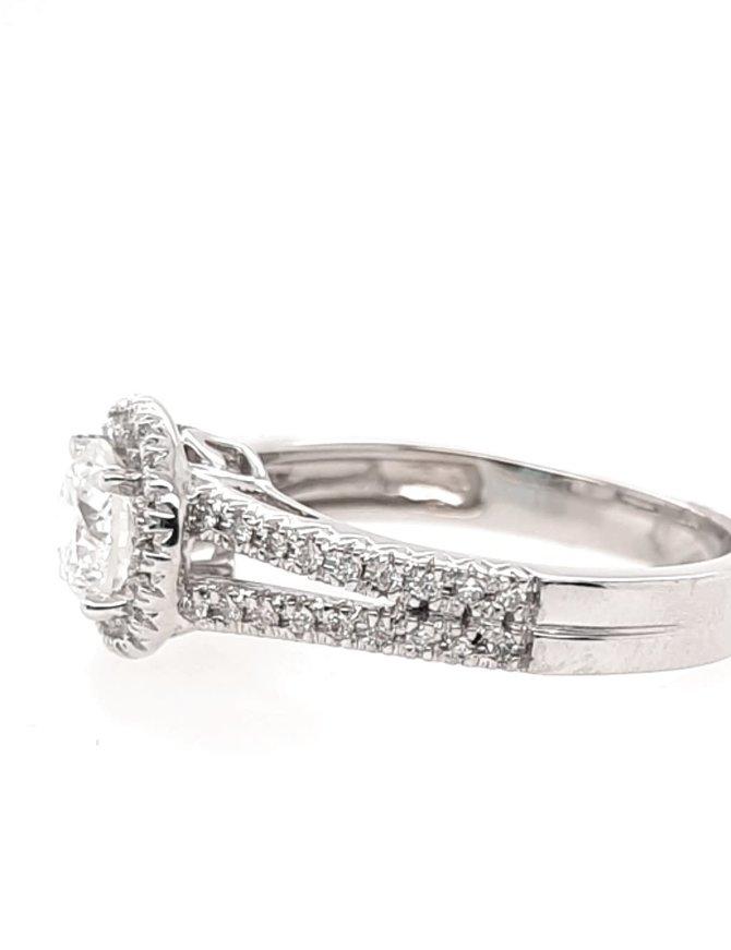 Diamond (.70 ct center, 1.00 ctw) halo engagement ring, 14 kt white gold 4.0g