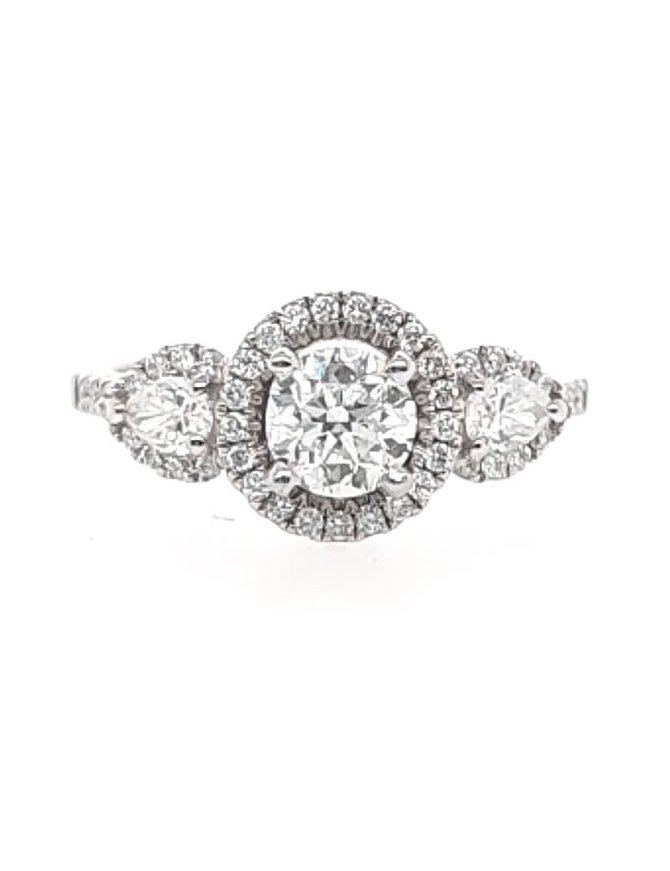 Diamond (0.70 ct center G-H/SI, 1.10 ctw) halo engagement ring, 14k white gold