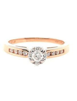 14K YG DIAMOND CLUSTER TOP ENGAGEMENT RING 1/4CTW 3.1G (11/20)
