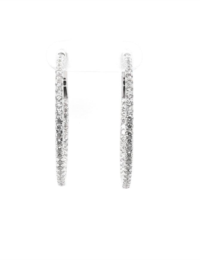 Diamond (2.00ctw) large round hoop earrings, 14k white gold