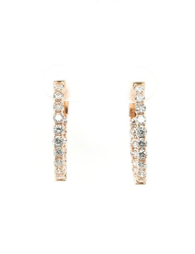 Diamond (1.50ctw) oval inside/outside hoop earrings, 14k yellow gold