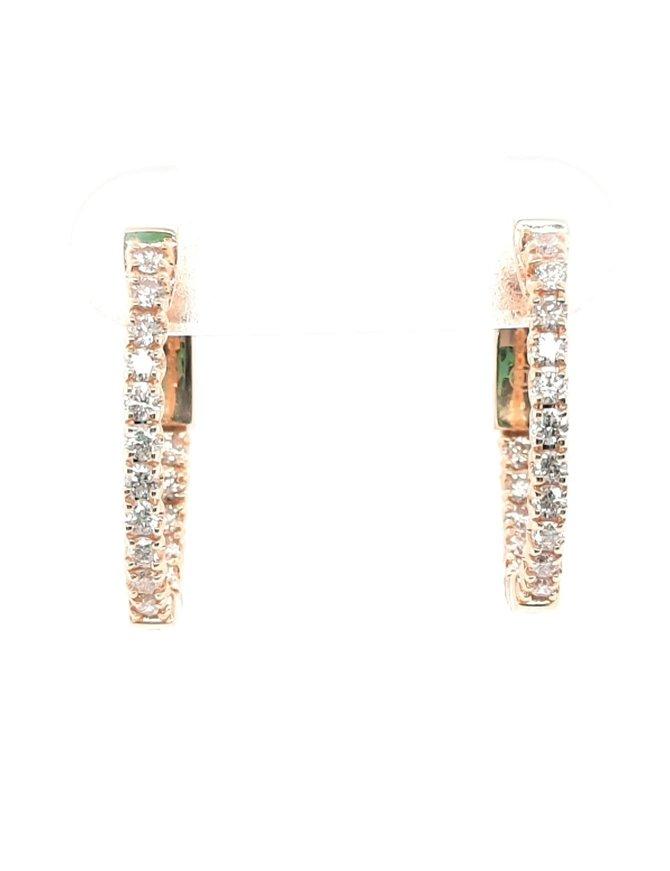 Diamond (0.47ctw) oval hoop earrings, 14k yellow gold