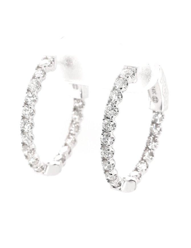 Diamond (1.47ctw) oval inside outside hoop earrings, 14k white gold