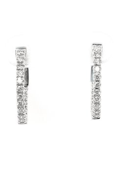 Diamond (0.48ctw) oval hoop earrings, 14k white gold