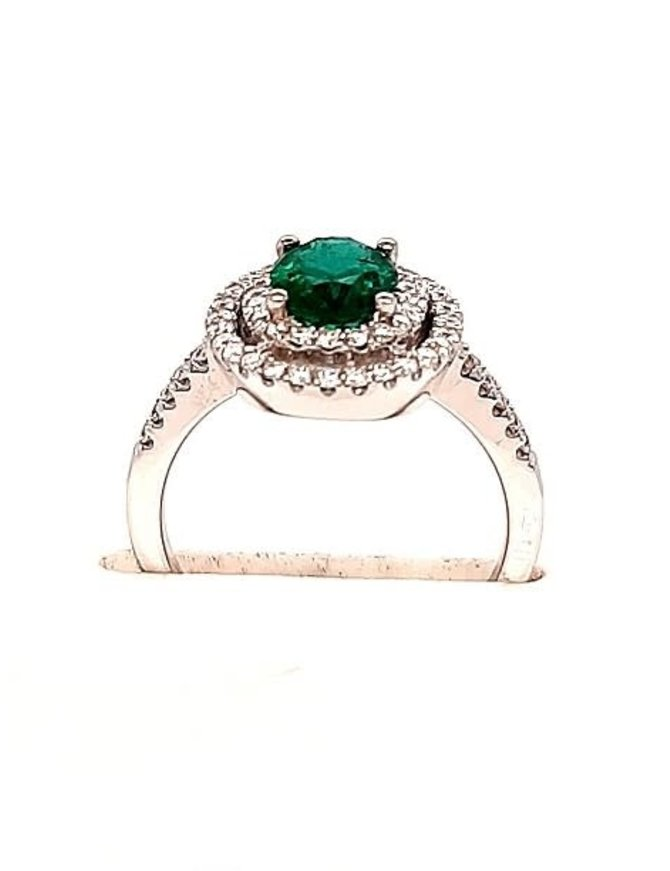 1.36ct emerald, 0.40ctw diamond oval/double halo ring, 14k white gold