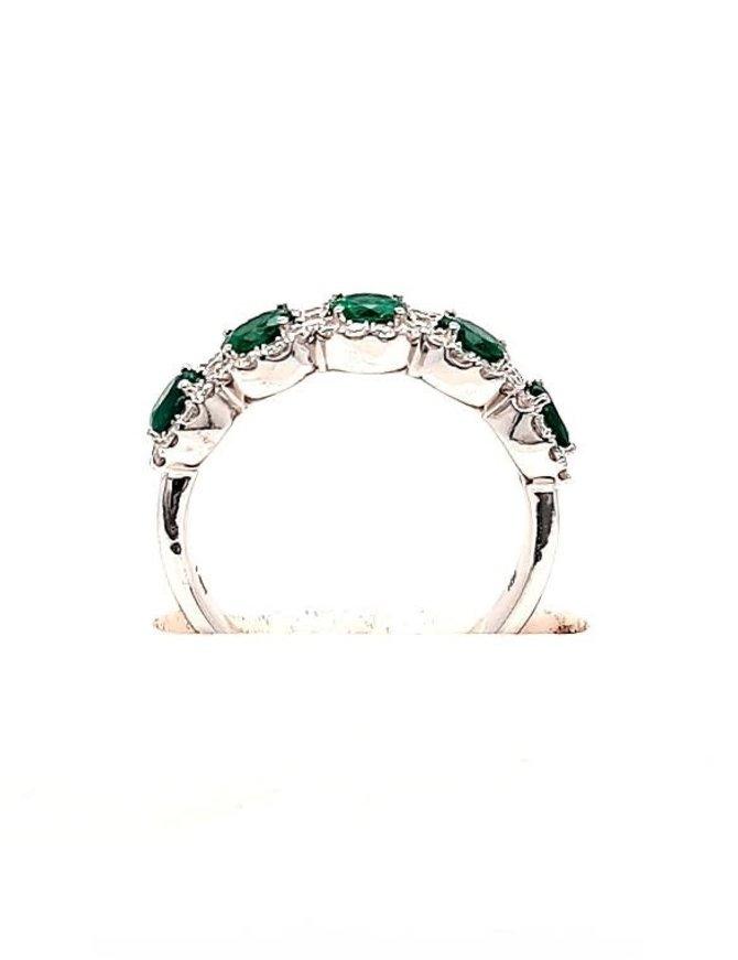 1.20ctw emerald, 0.45ctw diamond 5 stone band, 14k white gold