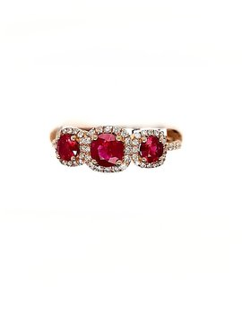 1.09ctw ruby 0.20ctw diamond 3 stone with halo ring 14k yellow gold