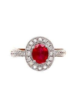 1.12ct ruby 1.00ctw diamond oval euroshank ring 14k white gold