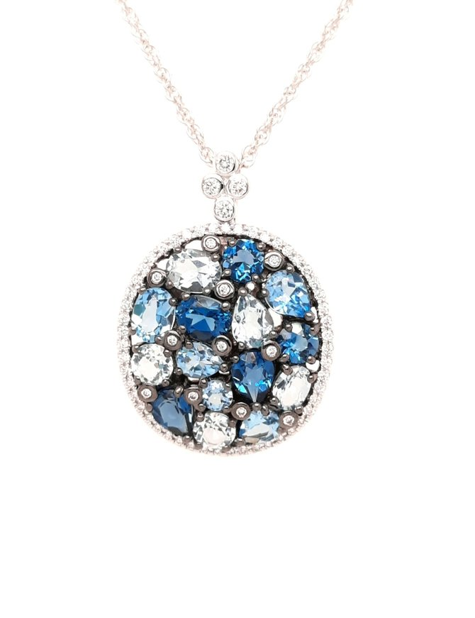 Blue topaz (3.12 ctw) & diamond (0.29 ctw) pendant, 14k white gold, chain included