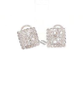 1.00ctw square diamond cluster earrings 14k white gold