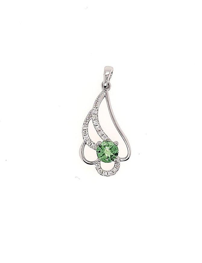 Peridot (0.41 ct) & diamond (0.10 ctw) swirl pendant, 14k white gold