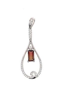 Watermelon tourmaline (1.24 ct) & diamond (0.20 ctw) pendant, 14k white gold
