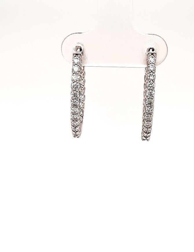 Diamond (1.00 ctw) inside/outside hoop earrings, 14k white gold
