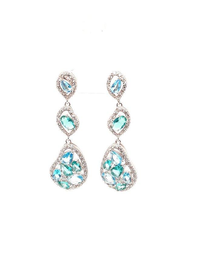 Blue & green sea glass, cz earrings, sterling silver