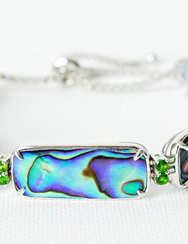 Abalone & chrome diopside adjustable bracelet, sterling silver