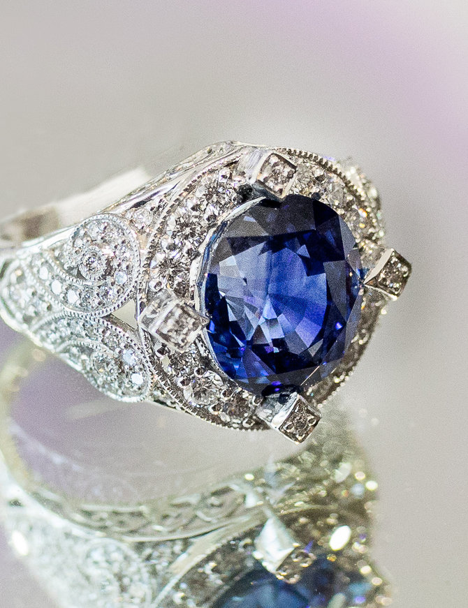 TQ original ceylon sapphire (7.31 ct) & diamond (1.0 ctw) ring, 14k white gold