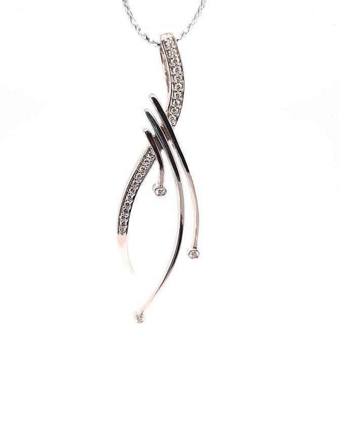"TQ Original (0.15ctw) diamond ""Journey"" pendant, 14k white gold"